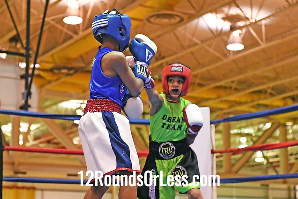 Bout #3: Dominic Jones, Blue Gloves, Gallo, MI -vs- Travell Fain, Red Gloves, Akron, 70 Lbs.