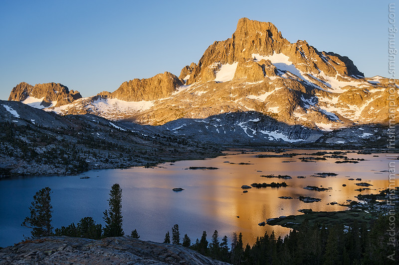 Sunrise on Banner Peak and Thousand Island Lake, Ansel Adams Wilderness, June 2014.