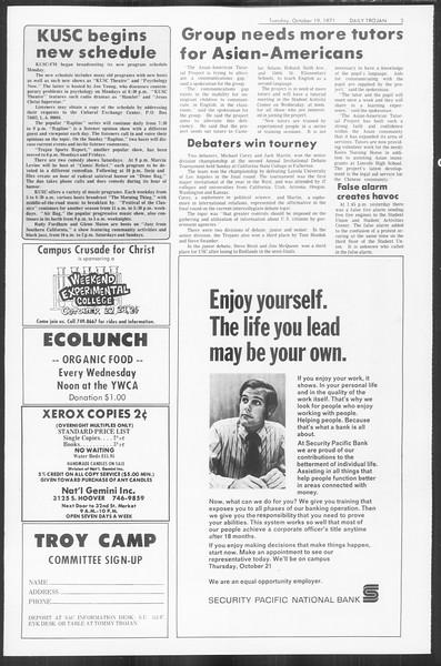 Daily Trojan, Vol. 64, No. 20, October 19, 1971