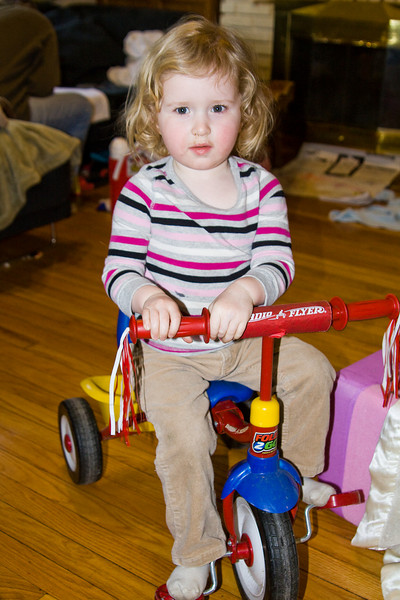 Beverly on her tricycle