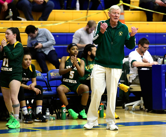3/8/2019 Mike Orazzi   Staff Trinity Catholic Girls Basketball Coach Mike Walsh during the Class S Semifinal girls basketball game at Newtown High School Friday night in Newtown.