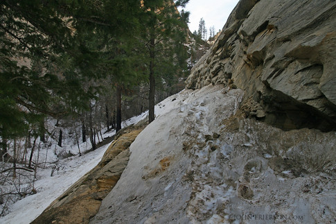 Snow blocks the trail in Zion National Park