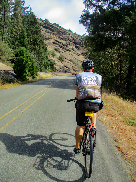 Jeremy, riding along Cow Creek Road.