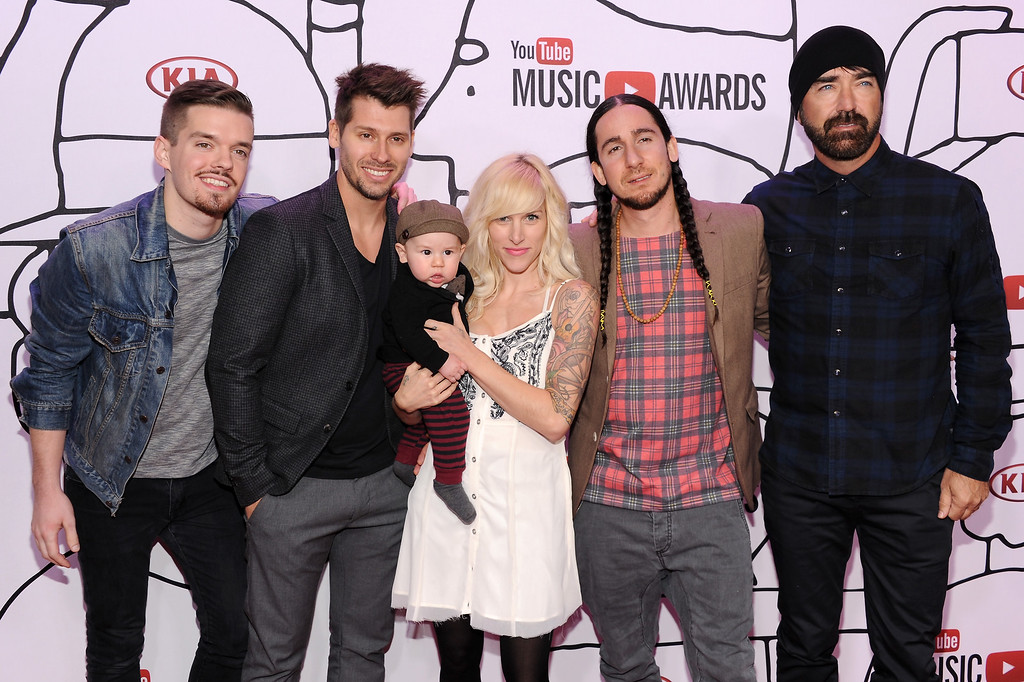 . NEW YORK, NY - NOVEMBER 03: (l to R) Joel Cassady, Ryan Marshall, Sarah Blackwood, Gianni Luminati, and Mike Tayler of Walk Off The Earth attend the 2013 YouTube Music awards at Pier 36 on November 3, 2013 in New York City.  (Photo by Dimitrios Kambouris/Getty Images)