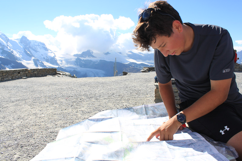 Lucas studying his map at Gornergrat