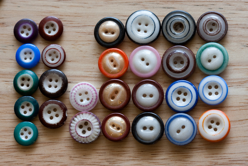 """""""Chinas"""": A sampling of the wide variety in sizes and olors of """"ringers"""" that were available in the late 1800s to early 1900s. (Ringers because there's a circle of color.)"""