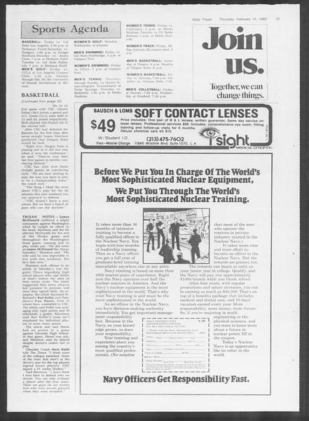 Daily Trojan, Vol. 93, No. 22, February 10, 1983