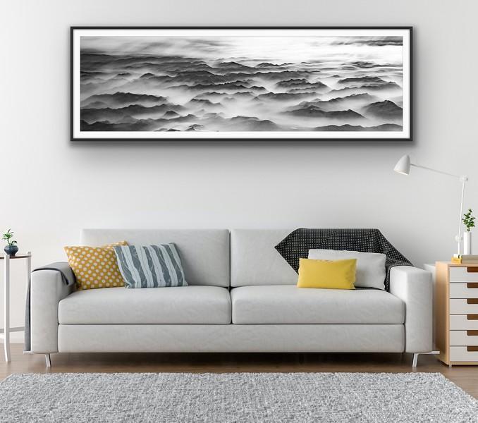 'Sea of Mountains' B&W Fine Art Print Framed/Unframed