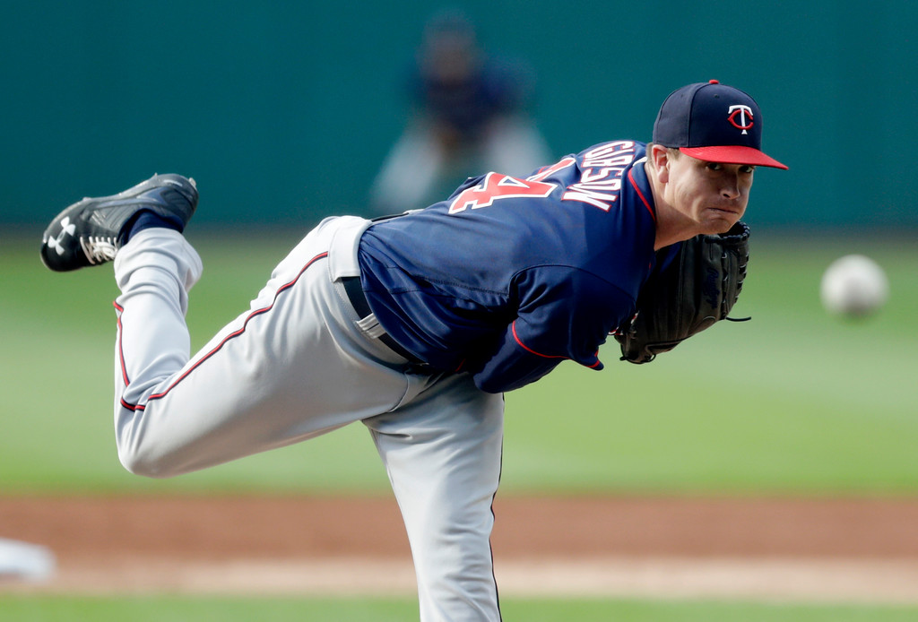 . Minnesota Twins starting pitcher Kyle Gibson delivers during the first inning of a baseball game against the against the Cleveland Indians, Friday, June 15, 2018, in Cleveland. (AP Photo/Tony Dejak)