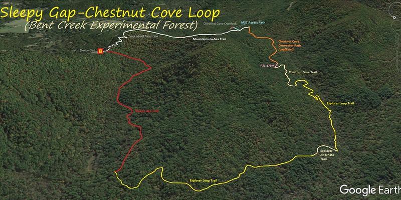 Sleepy Gap-Chestnut Cove Loop Hike Route Map