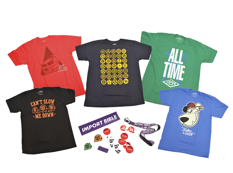 Import Bible, shirts, lanyards, decals, stickers