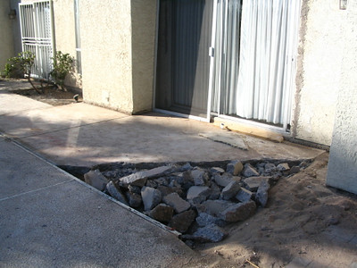 Demo of the patio outside the lilting room sliding door.
