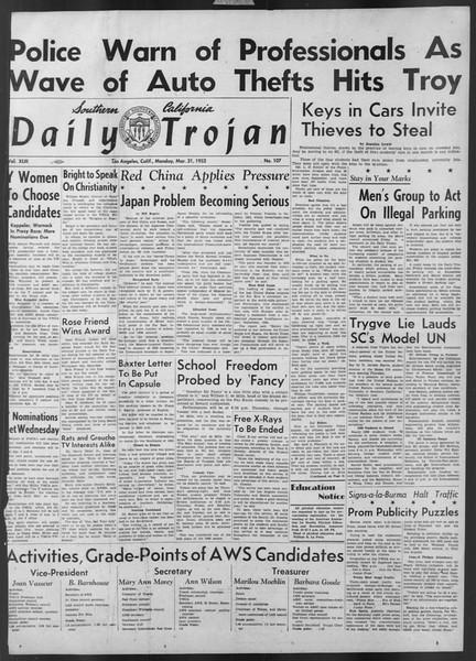 Daily Trojan, Vol. 43, No. 107, March 31, 1952