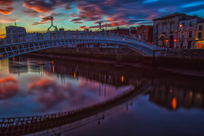 Sunrise at the Ha'Penny Bridge in Dublin, Ireland