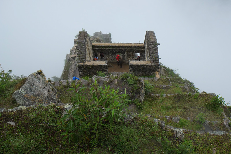 Top of Huyana Picchu (means young mountain) which overlooks Machu Picchu - pouring all day