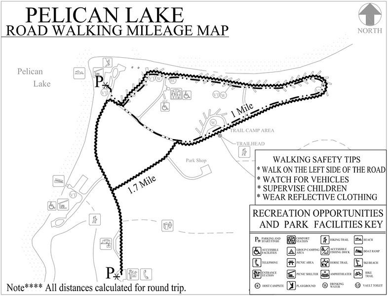Pelican Lake Recreation Area (Road Walking Map)