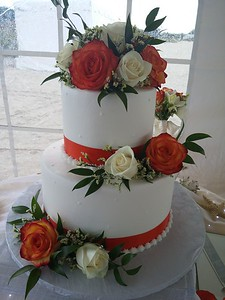 """BOB 8 Another example of a cost effective pro quality cake.  Bride to supply fresh flowers and fabric ribbon to.  This one is a two tier 9/6"""" serving 44"""