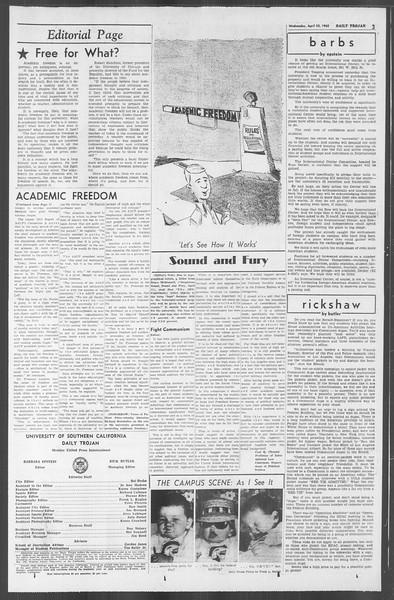 Daily Trojan, Vol. 53, No. 112, April 25, 1962