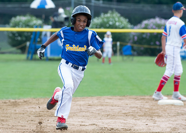 08/06/19 Wesley Bunnell | Staff New Jersey defeated Maryland in a Mid-Atlantic Little League tournament game on Tuesday afternoon at Breen Field in Bristol. Maryland's Aidan Davis (4) with a leadoff triple.