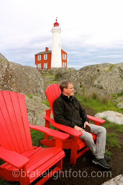 Red Chairs at Fort Rodd Hil with Fisgard Lighthouse