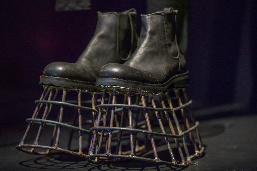 """. Cage shoes worn in the \""""Dead Man Walking\"""" video are on display during the media preview of the \""""David Bowie is\"""" exhibit at the Brooklyn Museum, Wednesday, Feb. 28, 2018, in New York. The exhibit opens to the public March 2 and runs through July 15, 2018. (AP Photo/Mary Altaffer)"""