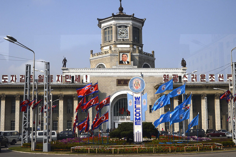 . A portrait of Kim il-Sung hangs at the train station in Pyongyang on April 11, 2012.  North Korea is counting down to the 100th anniversary of its founder\'s birth Kim Il-Sung on April 15 with top-level meetings and a controversial rocket launch scheduled in coming days to bolster his grandson\'s credentials.    (PEDRO UGARTE/AFP/Getty Images)