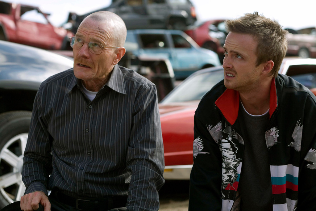 """. In this TV episodic  image released by AMC, Bryan Cranston portrays Walt White, left, and Aaron Paul portrays Jesse Pinkman in a scene from the season two premiere of the AMC original series, \""""Breaking Bad,\""""  airing Sunday, March 8, 2009 at 10:00p.m. EDT. (AP Photo/AMC, Cathy Kanavy)"""