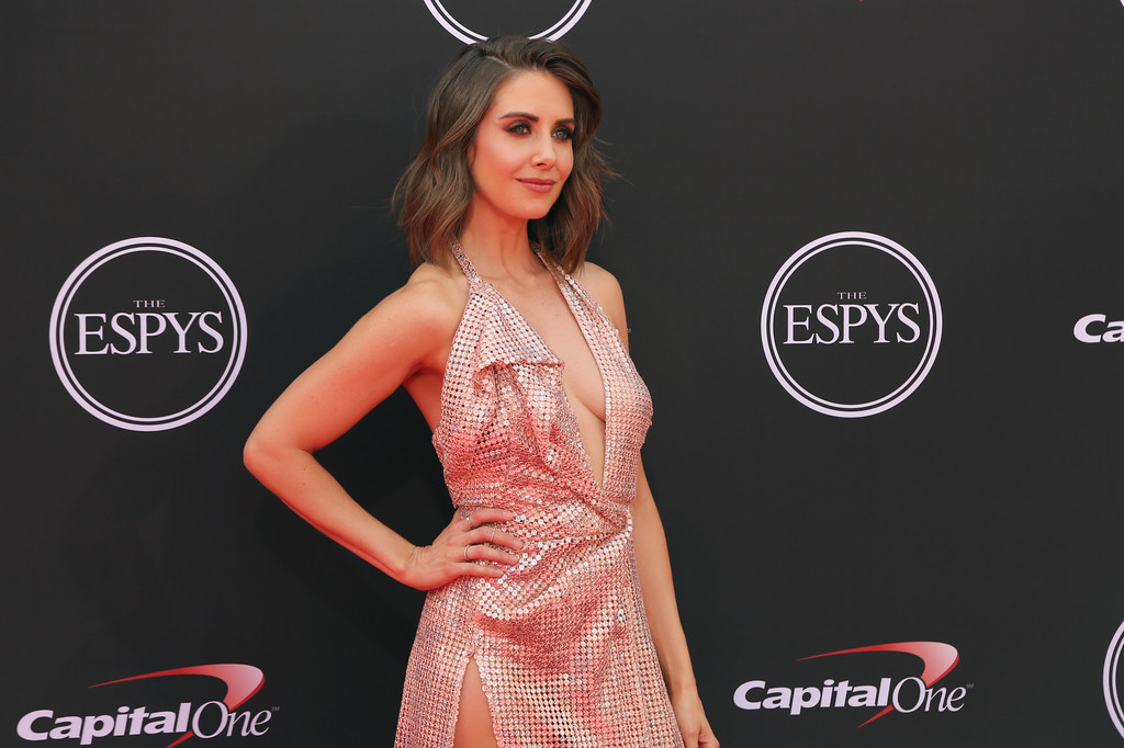 . Alison Brie arrives at the ESPY Awards at Microsoft Theater on Wednesday, July 18, 2018, in Los Angeles. (Photo by Willy Sanjuan/Invision/AP)