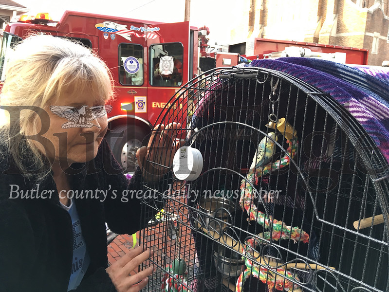 Cindy Fleischer escaped a fire in her North Street apartment building Thursday. She said a firefighter went into the building and rescued her parakeet Sam.