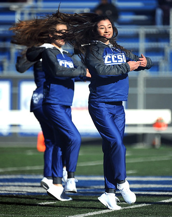 11/16/2019 Mike Orazzi | StaffrCentral Connecticut State University Dance Squad members during Saturday's football game with Robert Morris University in New Britain. r