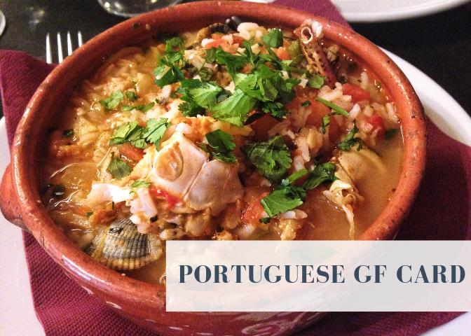 portuguese gluten free restaurant card