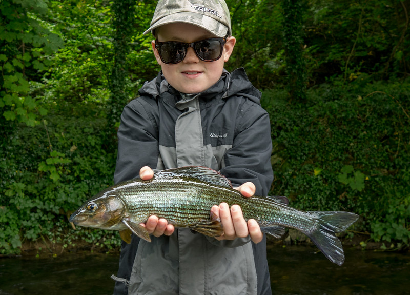 Grandson Alastair with a very nice Wye grayling.