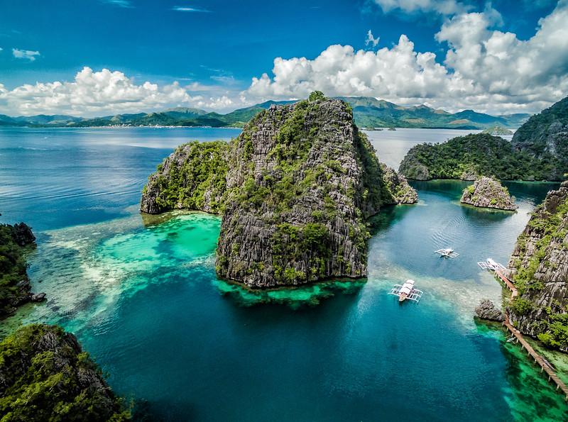 Drone photo of Kayangan Lake Coron Philippines Taken by David Stock Jr