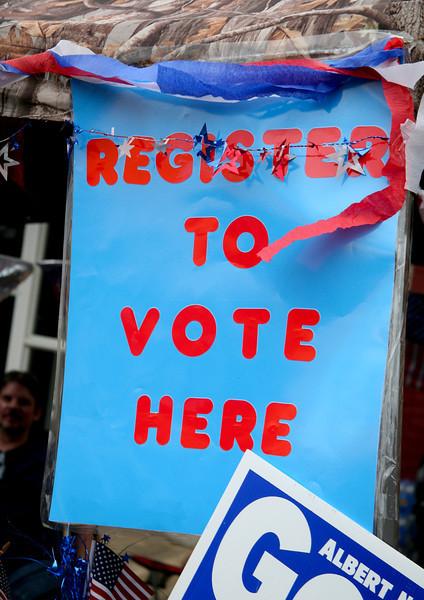Democrats were encouraged to register to vote