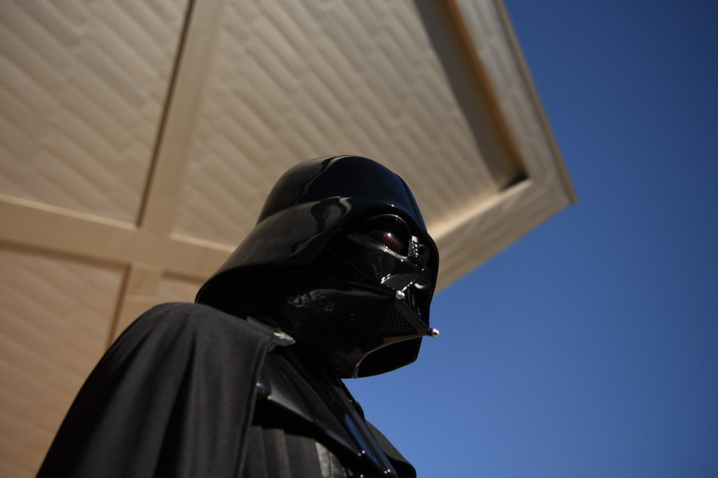 . Darth Vader stands outside the Denver Art Museum during a May the 4th Be With You event to kick off ticket sales for the upcoming exhibition, Star Wars and the Power of Costume, opening at the DAM in November, May 04, 2016. Costumed characters entertained fans at the museum. (Photo by RJ Sangosti/The Denver Post)