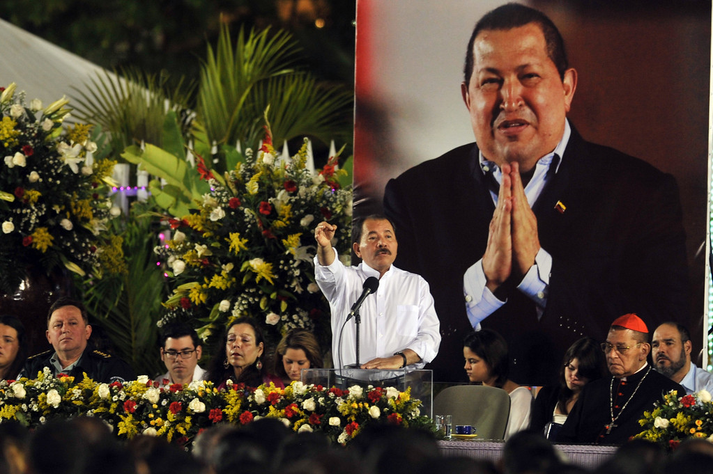 . Nicaraguan President, Daniel Ortega speaks at the Revolution Square in Managua, on March 5, 2013, during the ceremony in honor to Hugo Chavez. AFP PHOTO/Hector RETAMAL/AFP/Getty Images