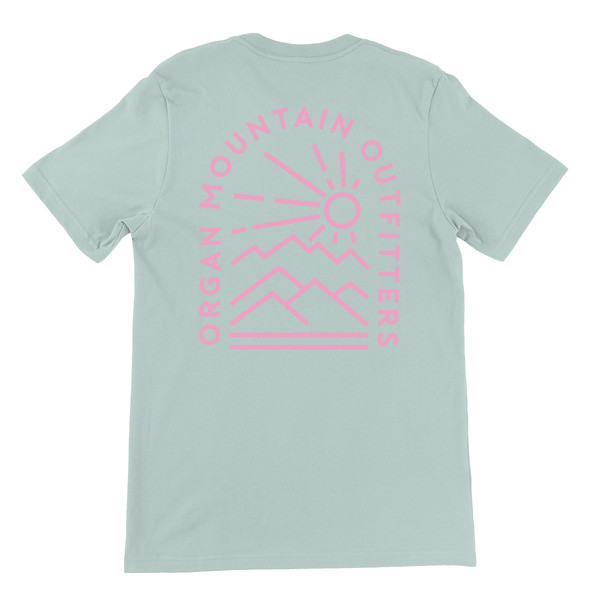 Organ Mountain Outfitters - Outdoor Apparel - Unisex T-Shirt - Elevation Tee - Heather Dusty Blue Back.jpg