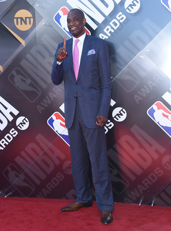 . Dikembe Mutombo arrives at the NBA Awards on Monday, June 25, 2018, at the Barker Hangar in Santa Monica, Calif. (Photo by Richard Shotwell/Invision/AP)