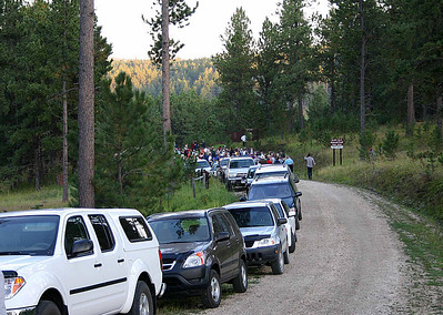 SEPTEMBER 5, 2009 -- BALD EAGLES    As the number of hikers has grown, so has the challenge of parking for Moon Walk participants.  Nonetheless, parking arrangements for the final Black Hills National Forest Moon Walk of 2009 worked well.  This was the final approach to the Moon Walk staging area on the north shore of Deerfield Lake, located about 18 miles west of Hill City, South Dakota.