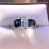2.83ctw Vintage Emerald Diamond and Sapphire Trilogy Ring 10
