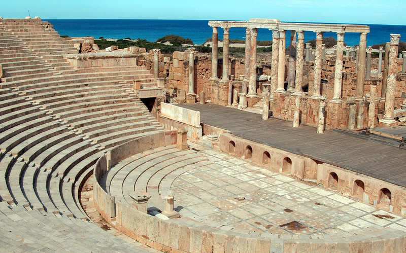 Leptis Magna: Roman theater, 1st - 2nd century A.D. The theater is one of the oldest stone theaters surviving from the Roman era and is the second largest in Africa, after Sabratha.
