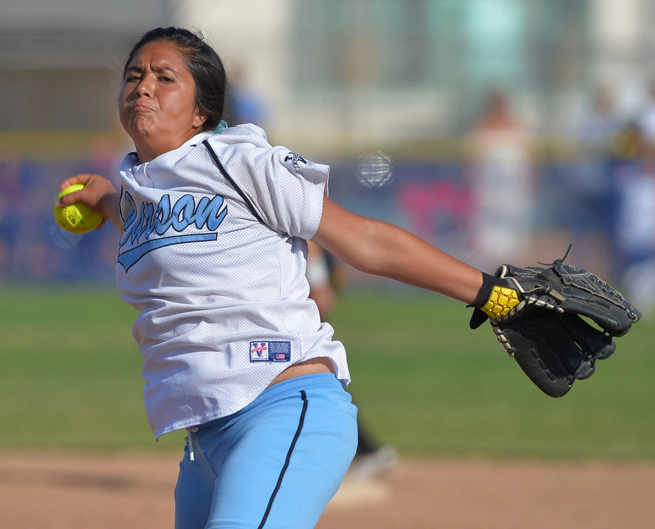 . 0522_SPT_TDB-L-SP-CARSON --Carson, California Daily Breeze Staff Photo: Robert Casillas / LANG Carson HS defeated Marine League rival San Pedro 6-0 in Los Angeles City softball semi-final. Carson RP Starla Hernandez closes out game for Colts.