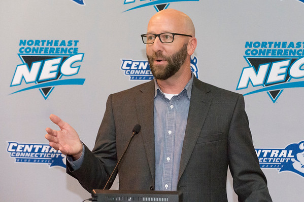 10/17/19 Wesley Bunnell | StaffrrRyan McCarthy was officially named head football coach by CCSU during a press conference on Thursday afternoon. Assistant A.D. for Communication Thomas Pincince address the audience.
