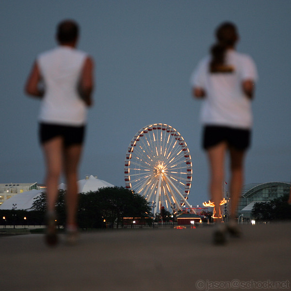 Joggers with Navy Pier in the background
