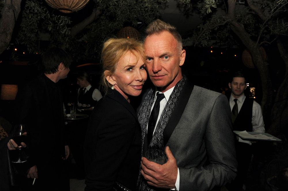 Description of . Trudie Styler and Sting attend the Maroon 5 Grammy After Party & Adam Levine Fragrance Launch Event on February 10, 2013 in West Hollywood, California.  (Photo by Kevin Winter/Getty Images for PRESS HERE)