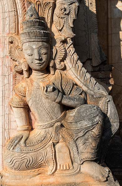 Deva statue at the crumbling Nyaung Oak monastery in Inthein (Indein), Shan State, Burma (Myanmar)