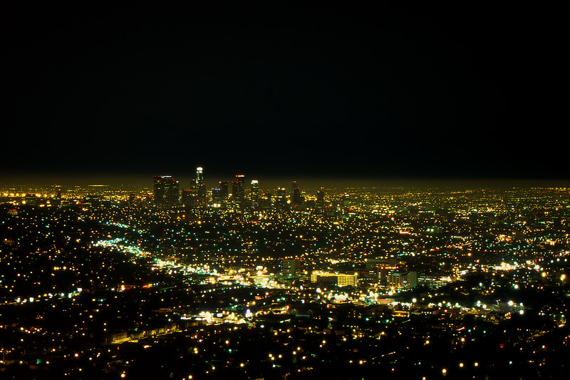 L.A. at Night - Griffith Observatory, Los Angeles, California, USA - August 1995