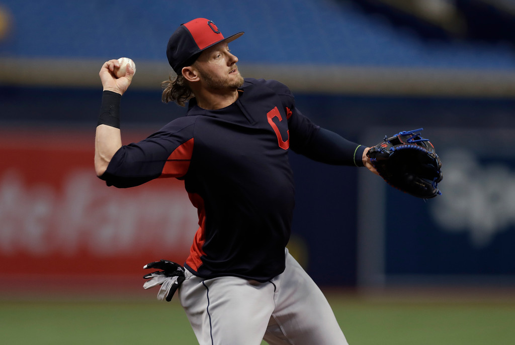 . Cleveland Indians third baseman Josh Donaldson takes infield practice before a baseball game against the Tampa Bay Rays Monday, Sept. 10, 2018, in St. Petersburg, Fla. Donaldson was acquired in a trade with the Toronto Blue Jays. (AP Photo/Chris O\'Meara)