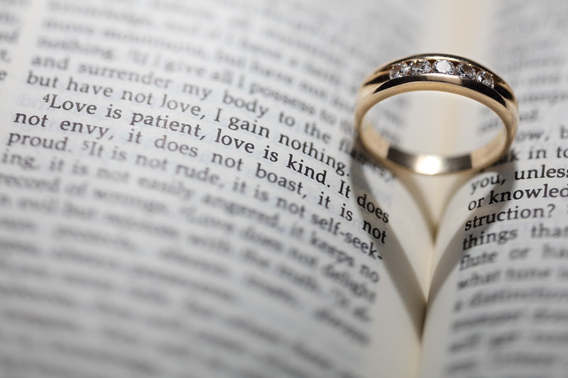 Wedding Ring, Bible, Love Verse and Heart Shadow