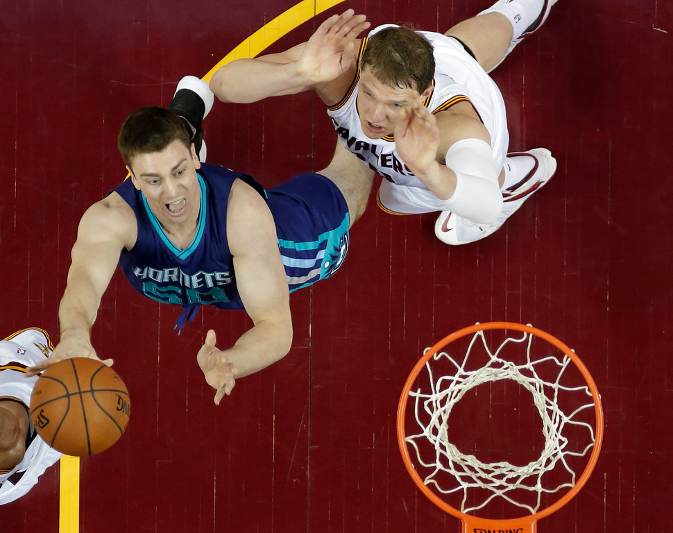 . Charlotte Hornets\' Tyler Hansbrough, left, drives to the basket against Cleveland Cavaliers\' Timofey Mozgov, from Russia, in the second half of an NBA basketball game Wednesday, Feb. 24, 2016, in Cleveland. The Cavaliers won 114-103. (AP Photo/Tony Dejak)